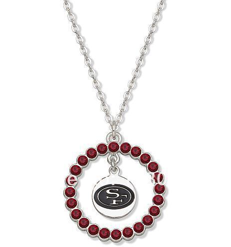 fashion hot sale San Francisco 49ers logo charm with a rhinestone circle sport necklaces jewelry 30pcs a lot(China (Mainland))