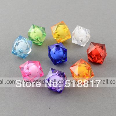 Transparent Acrylic Beads, Bead in Bead, Faceted, Square, Mixed Color, 20x19x19mm, Hole: 3mm; about 120pcs/500g(China (Mainland))