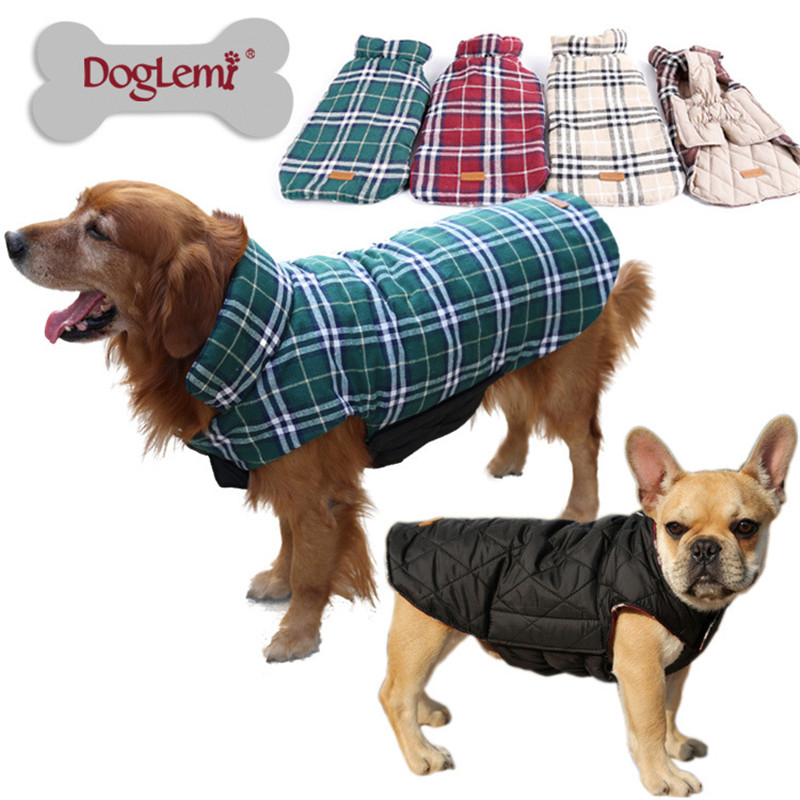 Waterproof Reversible Dog Jacket Designer Warm Plaid Winter Dog Coats Pet Clothes Elastic Small to Large Dog Clothes Winter b128(China (Mainland))