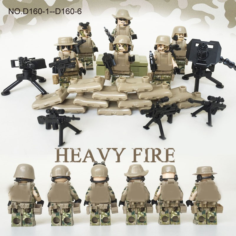 6CPS WW2 Heavy Fire Special Weapon Guns Military Minifigures Building Blocks Compatible Legoes SWAT Army Soldiers World War 2 - COASTLINE TOY store
