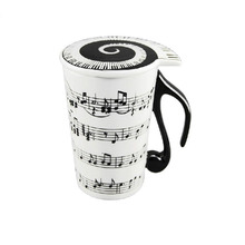 Music Cup Mug Staff Notes Piano Keyboard Ceramic Cup Porcelain Mug Coffee Cup with Cover Creative