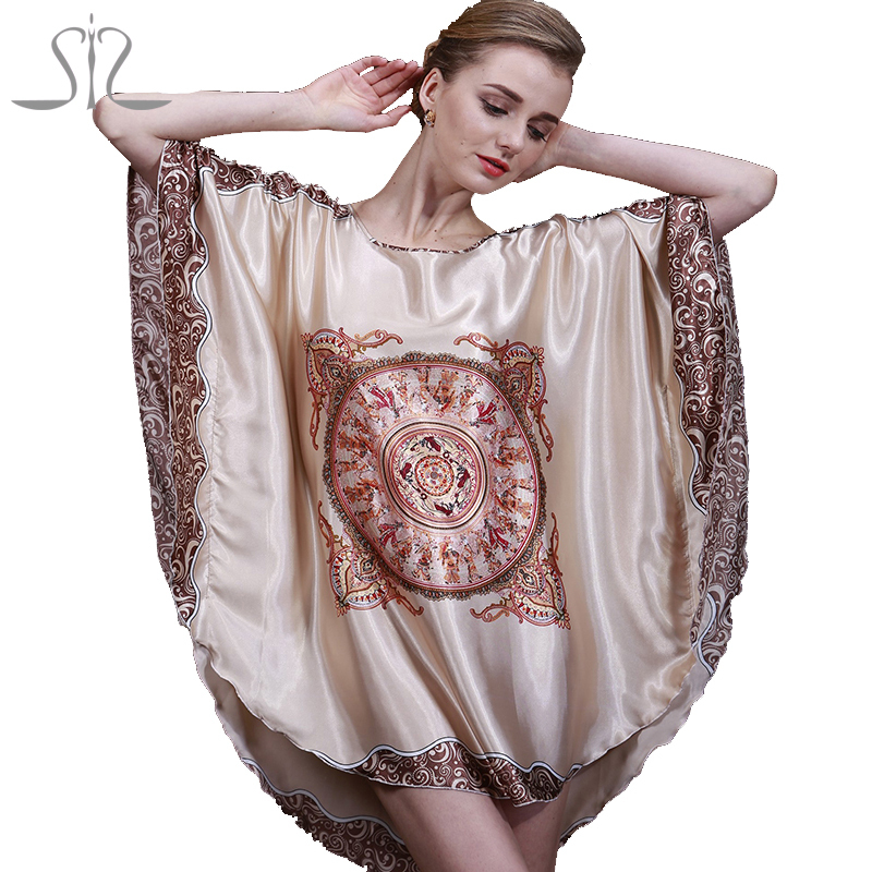 Women Nightgown 2015 New Arrival Summer Style Home Silk Women Sleepshirts Sale Print Dressing Gowns For Women Sleepwear 10013(China (Mainland))