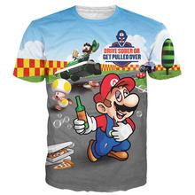 Unif 2016 Harajuku Summer 3d Print T Shirt Cartoon Funny Game Super Mario Flash Bros Mushroom Men Women Graphic Tees Top T Shirt(China (Mainland))