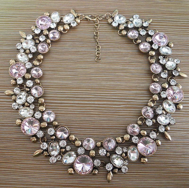 2015 New Za Collares Pink Rhinestone Crystal Necklace Fashion Women Jewellery Choker Statement Necklaces Bib Collar(China (Mainland))