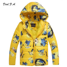 Minion Boy Coats Hooded High Quality Character Winter Boy Kids Jackets Coat Long Sleeve Wadded Children Clothing Outwear(China (Mainland))