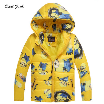 Minion Boy Coats Hooded High Quality Character Winter Boy Kids Jackets Coat Long Sleeve Wadded Children Clothing Outwear