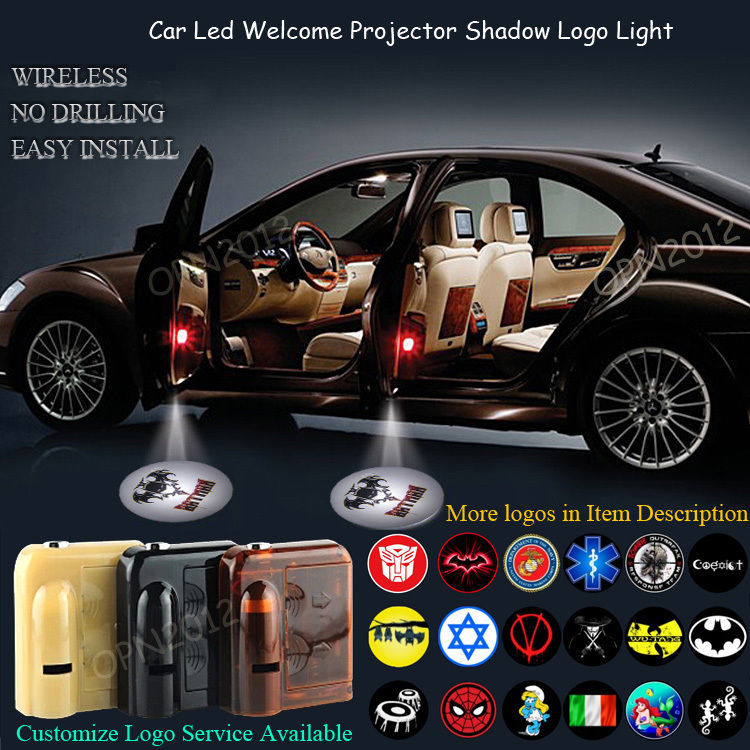 2x 3D Batman Logo Wireless Car Door Laser Projector Ghost Shadow CREE LED Light #1173*2(China (Mainland))