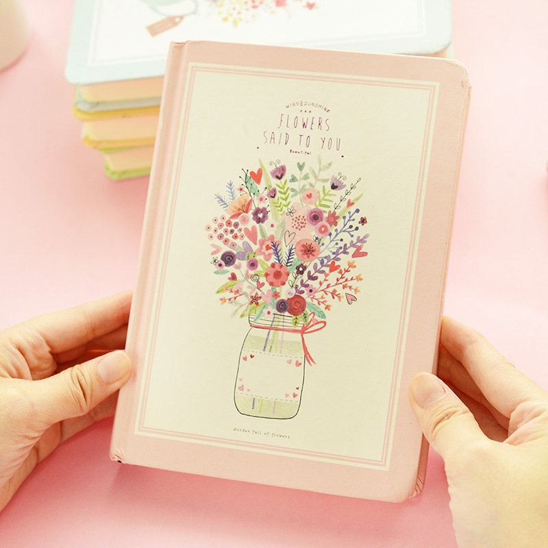 creative stationery wholesale cute flower language style notebook journal diary office school supplies free shipping 1439(China (Mainland))