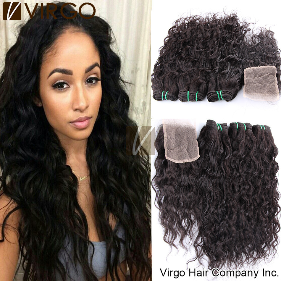 Brazilian Virgin Hair Water Wave With Lace Closure Brazilian Hair Weave Bundles 1pc Lace Closure With 2/3/4Bundles Human Hair(China (Mainland))