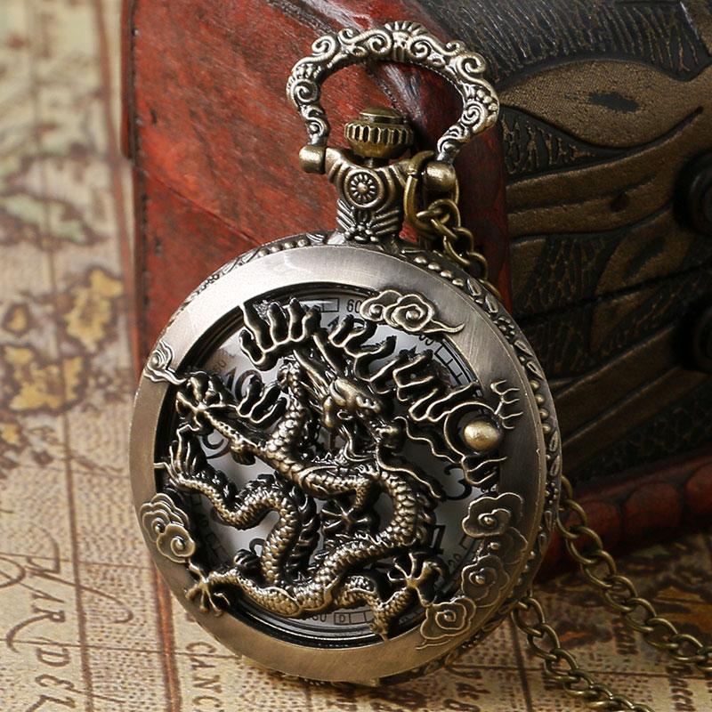 Antique Vintage Dragon Pocket Watch Hollow Pendant Men Women Zodiac Round Quartz Steampunk with Necklace Chain Xmas Gift(China (Mainland))
