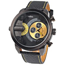 Oulm 3130 Men Military Watch with Double Movt Numbers and Strips Hours Marks Leather Band Quartz