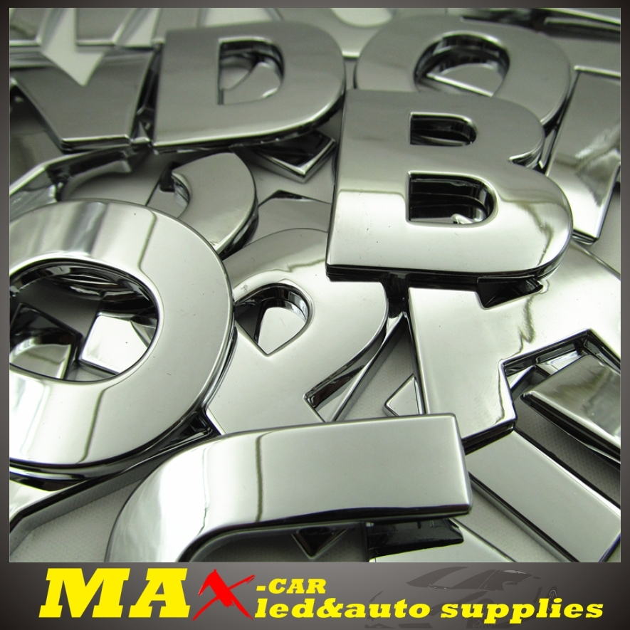 Hot sale diy n z letters alphabet 3d car metal aluminum for Decoration 5 letters
