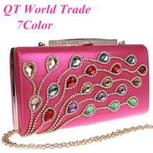 2015 New Women Shiny Colored Diamonds Clutch Exquisite Rhinestone Evening Bag Wedding Party Banquet Handbag Purse Shoulder Bag