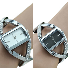 Moda para mujer de cristal acero inoxidable del Rhinestone Accent PU correa de cuero de cuarzo analógico pulsera vestido reloj 14B9