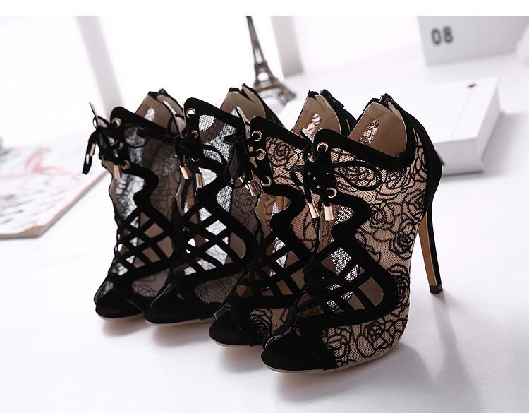 New Korean fish mouth lace buckle shoes fashion women sandals fish head women high heels banquet temperament female boots<br><br>Aliexpress