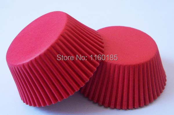 Free Shipping 100X Red Plain Color Wedding baking paper Muffin Cake Tray Cupcake liner/case/wrapper Mold Maker 4 Valentines day(China (Mainland))