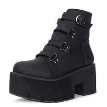 Gdgydh Frühling Herbst Stiefeletten Frauen Plattform Stiefel Gummi Sohle Schnalle Schwarz Leder PU High Heels Schuhe Frau Komfortable(China)
