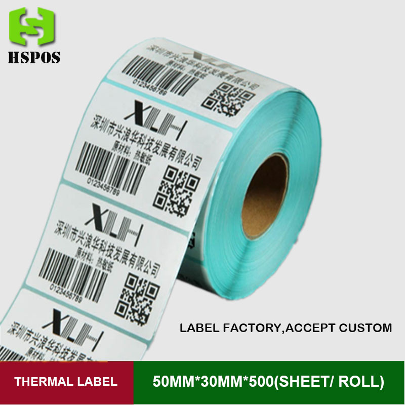 Thermal printer sticker label paper 50mmx30mm 500pcs one roll self adhesive paper can customized logo printing papel(China (Mainland))