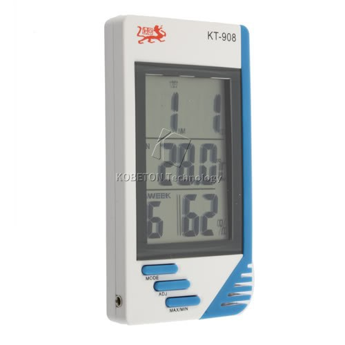 3 In 1 Digital 2.8 LCD Thermometer Hygrometer Temperature Humidity Tester Clock Meter Indoor Outdoor In / Out Meter with Probe(China (Mainland))