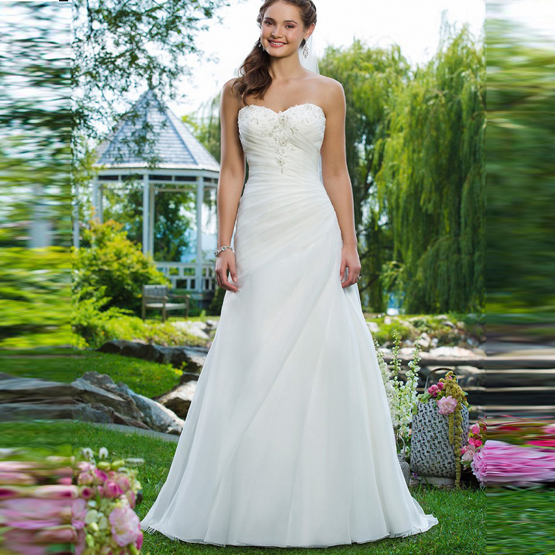 Beautiful cheap garden wedding dresses a line organza hot for Cheap but beautiful wedding dresses