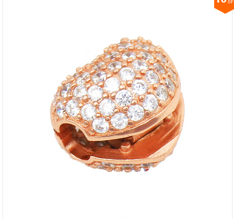 Love Heart stopper charms rose gold clip Beads fits pandora bracelet DIY for women men fine jewelry wholesale(China (Mainland))