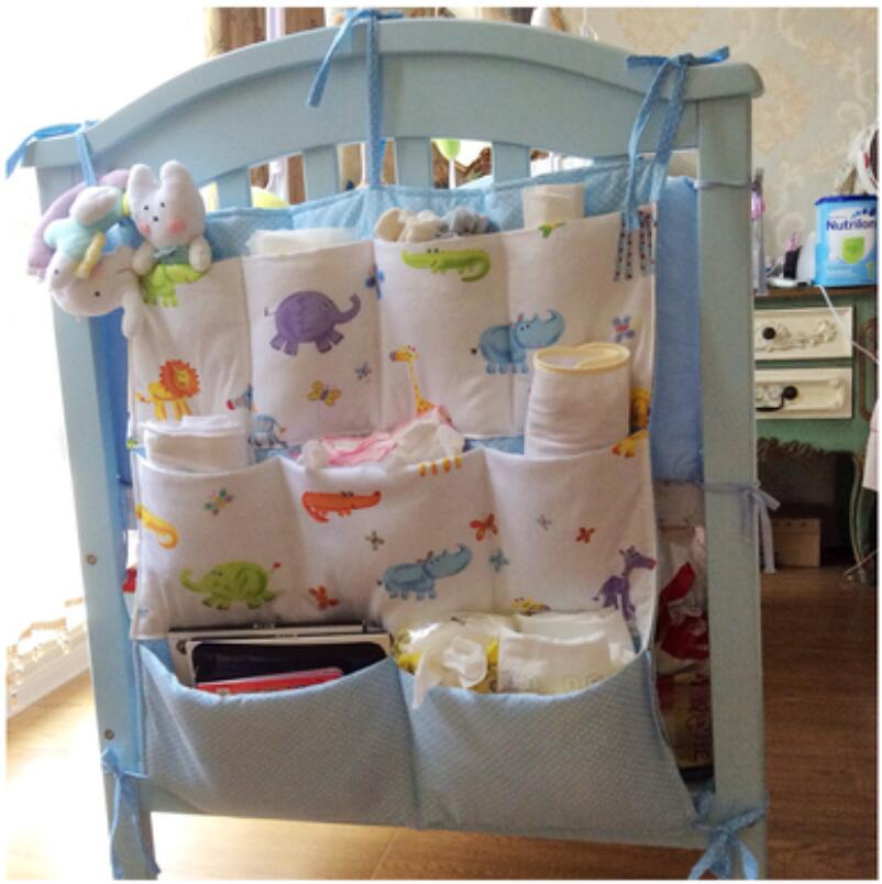 Baby Bed Hanging Stroage Bag Crib Pockets Toy Diapers Bottle Organizer 60*53CM(China (Mainland))