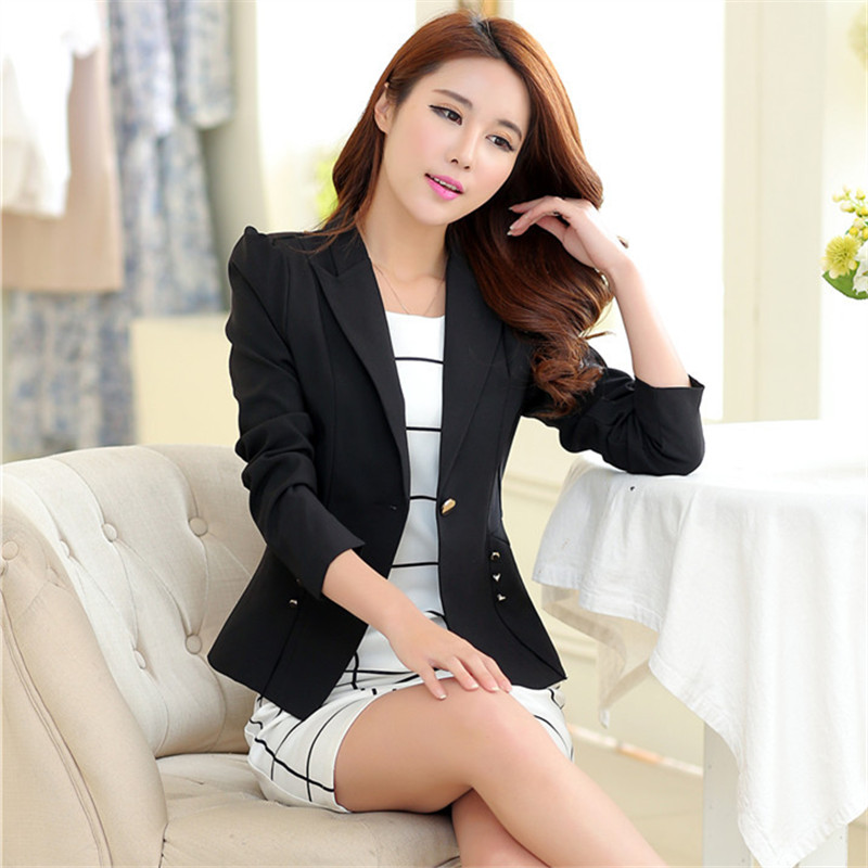2015 New fashion Casual blazer women Candy Color ladies coat Slim Solid long sleeve feminino Basic suit jacket ST003 - Charming Life Store store
