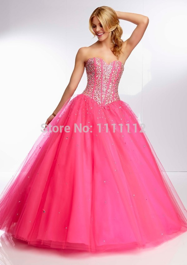 Free shippinglovely beaded sweetheart hot pink orange lime for Pink and orange wedding dresses
