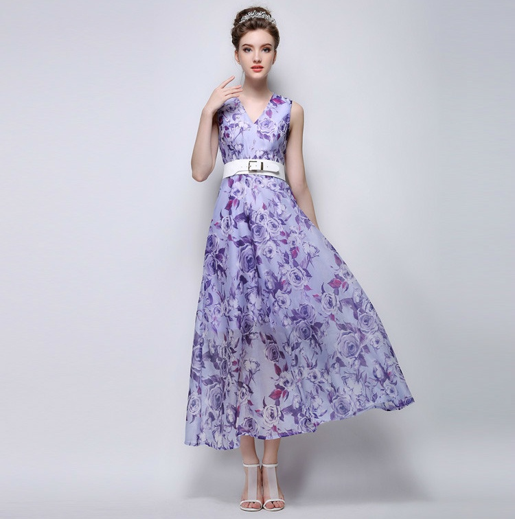 2015 Summer Women's New Fashion Sleeveless Slim Thin Casual Floral Print Maxi Long Dress With Belt(China (Mainland))
