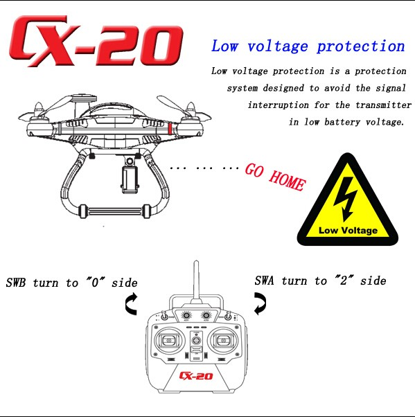Cheerson CX-20 CX20 Brushless MX/GPS Auto-pathfinder 2.4GHz 4-CH 6-axis RC Helicopter Quadcopter UFO Camera Drone