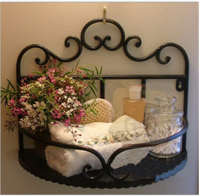 wrought iron wall shelf corner shelf household soap holder. Black Bedroom Furniture Sets. Home Design Ideas
