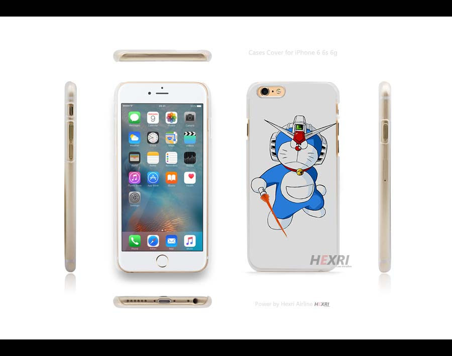 mobile suite rx 78 gundam doraemon Hard Clear Case Cover for iPhone 4s 5 5s SE 6 6s Plus 6+(China (Mainland))