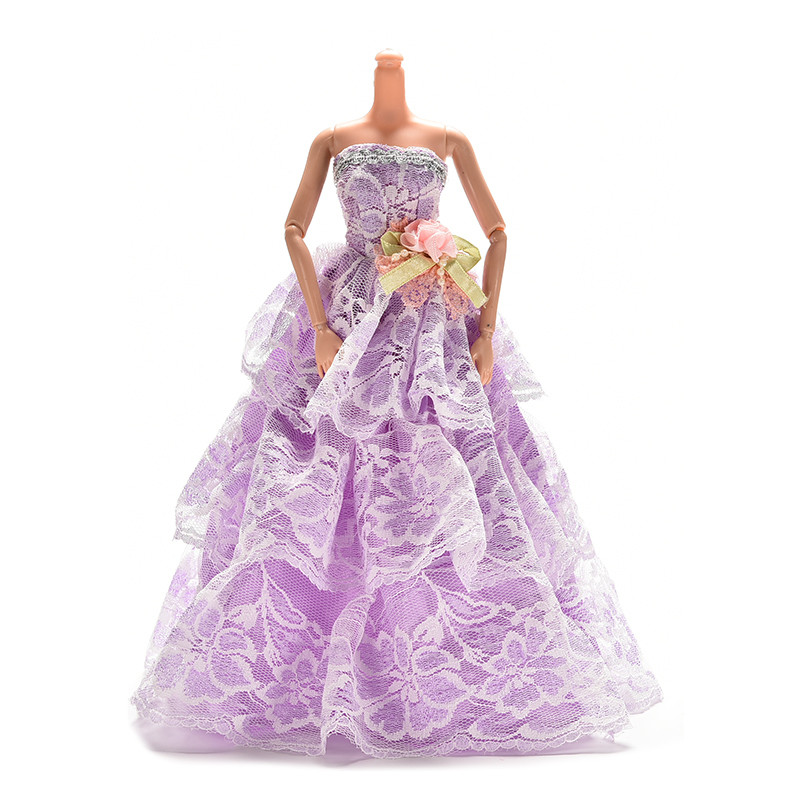 1 Pc Elegant Lace Multi Layers Wedding Dress For Barbie Doll Luxury Floral Doll Dress Clothes Clothing 23cm(China (Mainland))