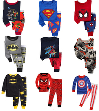 2015 Spiderman Batman Superman Kids Clothes Baby Boys Long Sleeve Cotton Pajamas PJS Childrens Sleepwear Pyjamas Pijamas Sets(China (Mainland))