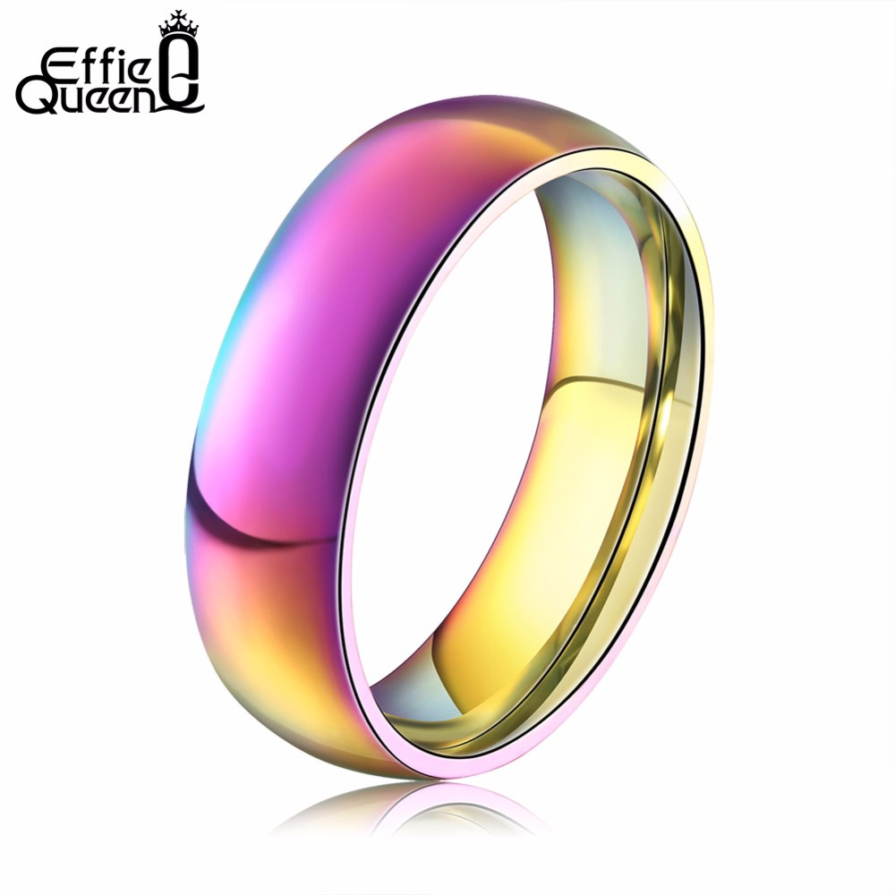DALI Classic Men Women Rainbow Colorful Ring Titanium Steel Wedding Band Ring Width 6mm Size 6-12 Gift WTR93(China (Mainland))