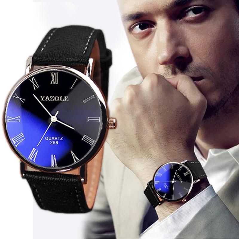 2015 Hot Sale New Arrival Fashion Mens Luxury Faux Leather Wristwatch Quartz Analog Watch Watches