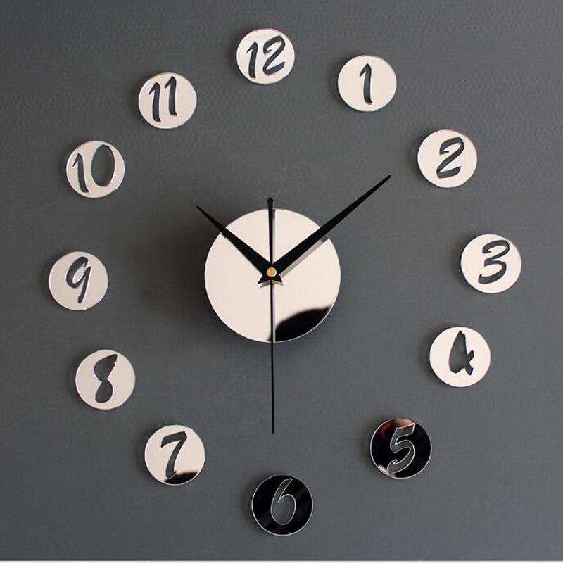 Modern Wall Decoration Clock 3D mirror Creative Wall Clock for Living Room Bedroom ML-YWLK-001(China (Mainland))
