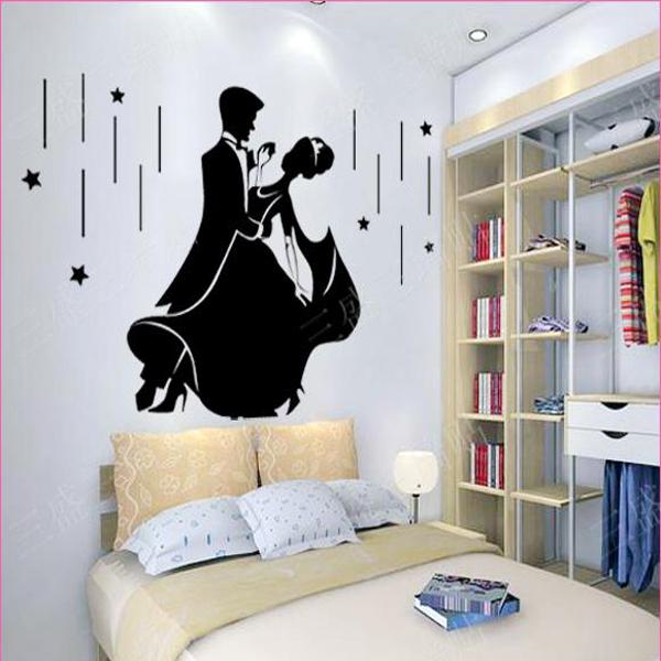 Romantic Wedding Wall Sticker Decorations Bedroom Wallpaper Murals Art ...
