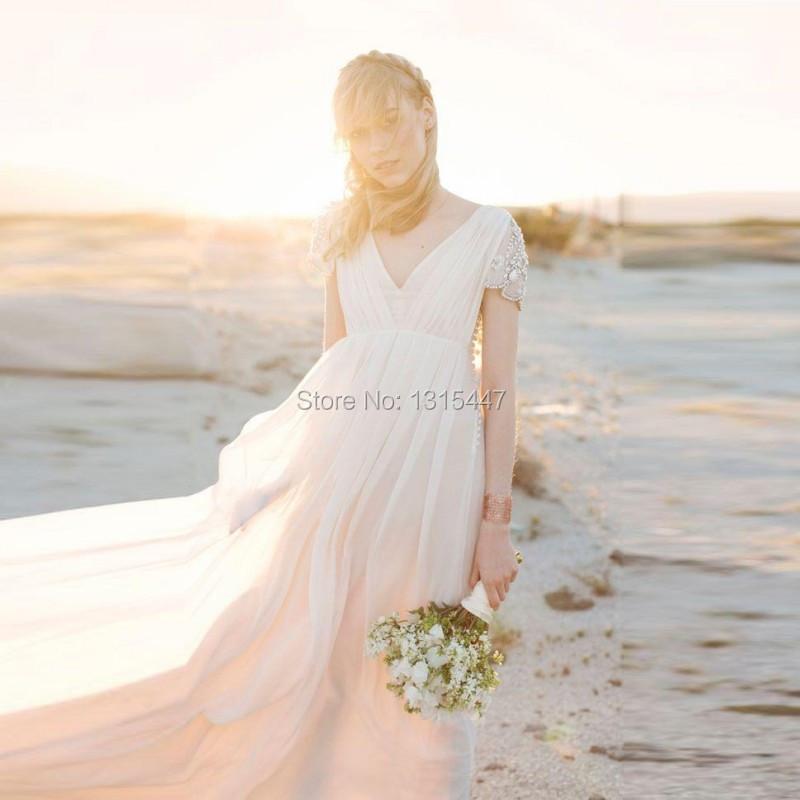 Romantic Beach Wedding Dresses Short Sleeve 2016 Vestidos De Noiva V Neck Sexy Backless New Bridal Summer Dresses Empire Waist(China (Mainland))