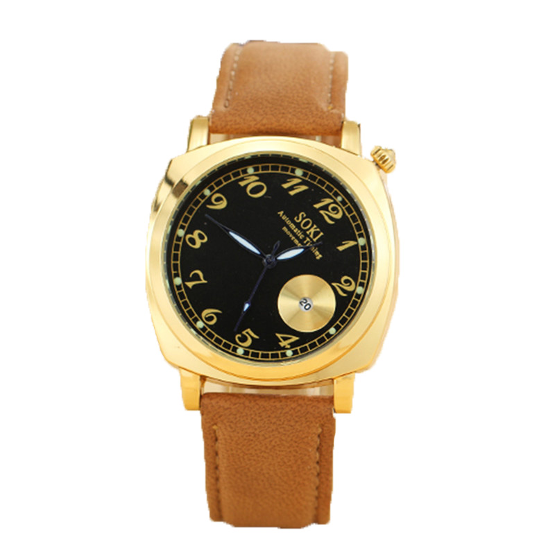 Unique design of new fund of 2015 mens watch, watch of wrist of outdoor leisure, SOKI brand automatic calendar watch movement<br><br>Aliexpress