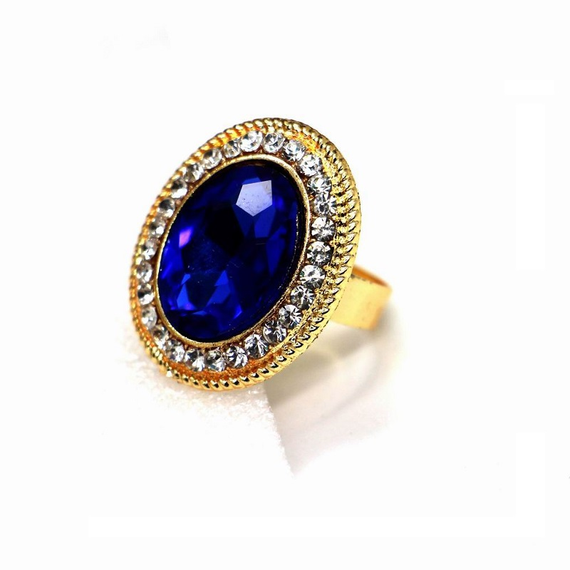 Oval shaped brightly colorful blue crystal rings for women bijoux ajustable fashion jewelry women accessories(China (Mainland))