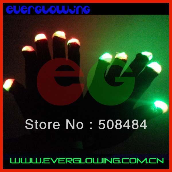 Free Shipping 2pcs(1pair)/lot 7 modes black/white led gloves Rave Light Finger LED flashing gloves well for Christmas(China (Mainland))