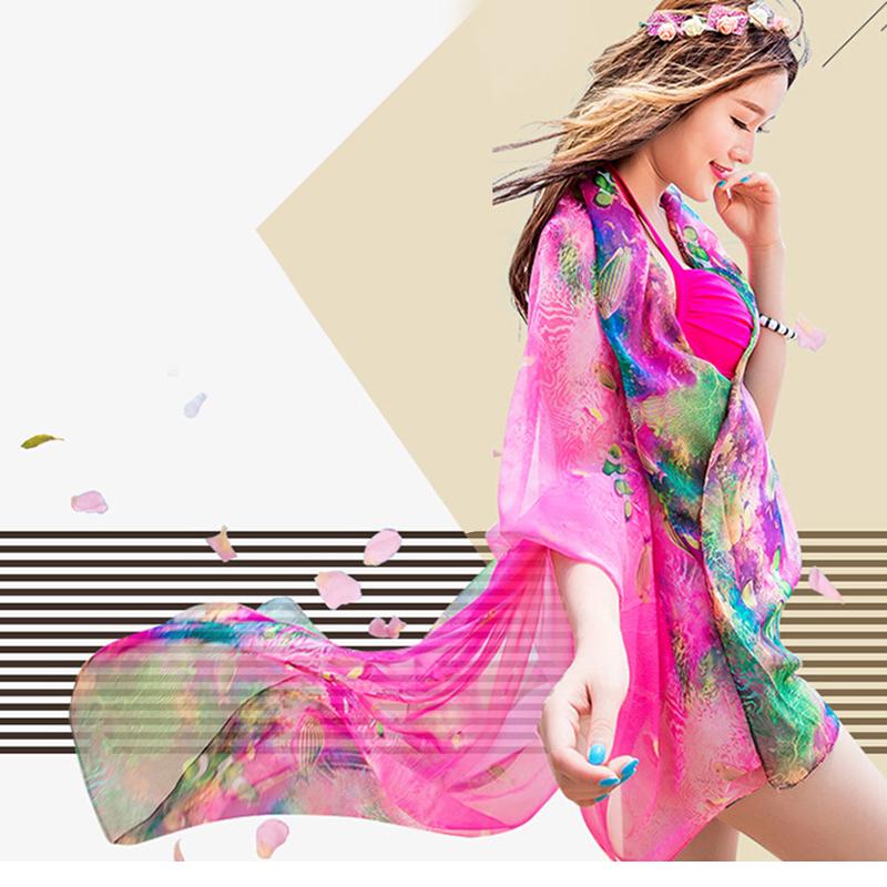 Women Summer Floral Imitated Silk Beach Scraf Sarong Swimwear Cover Up Bikini Wrap Dress(China (Mainland))