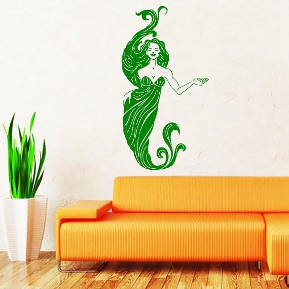 Mermaid Wall Sticker Water Nymph Nature Fish Hair Beauty Sea Animal Wall Decals Vinyl Sticker Interior Home Decor Art Bedroom(China (Mainland))