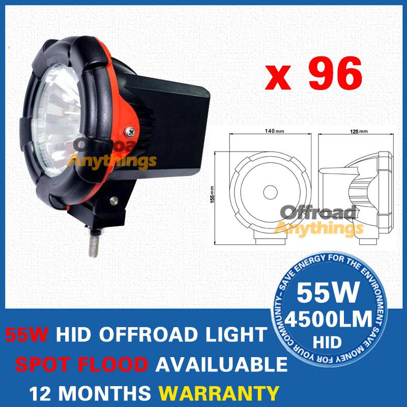 "96Pcs 12V 55W 4"" Spot Beam Truck/Boat Fog Lamp Hid Driving Light HID Off Road Light Hid Xenon Work Light(China (Mainland))"