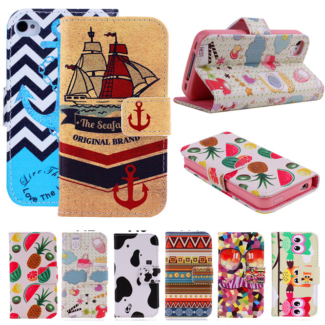 Anchor Tribe Eagle Cartoon Flag Print Wallet Style Flip Case For Apple iphone 4 4S Stand PU Leather Phone Protective Cover Bags(China (Mainland))