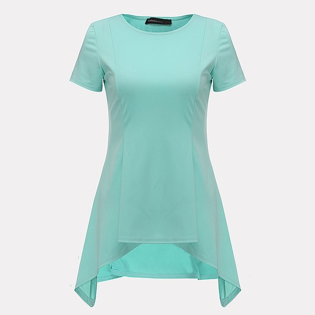 Summer Women Blouse Irregular Hem Short Sleeve O-neck Peplum Waist Slim Fit Sexy Tops Casual Loose White Shirts Blusas