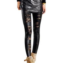 Fashion Hollow Women Leggings Lace Double Layer Stripe Women Leggings Black(China (Mainland))