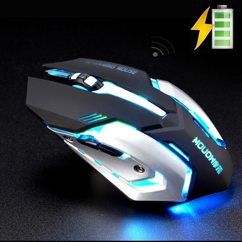 A8 2.4GHz Wireless Rechargeable Silent Gaming Mouse 1600DPI 7 Colors Backlit Breath USB Optical Ergonomic Gamer Mouse PC Laptop(China (Mainland))