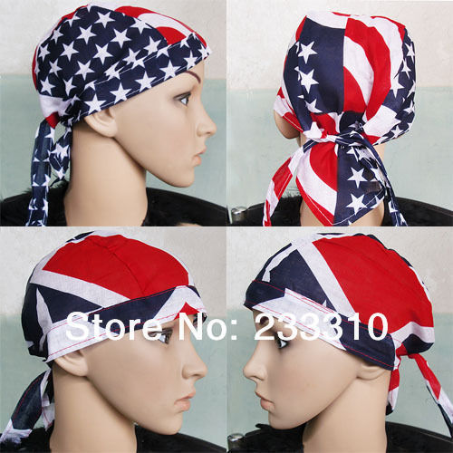 15pcs 100%Cotton Hair Bandana Beanie Tie Down Hat Head Wrap USA UK FLAG HAT005(China (Mainland))